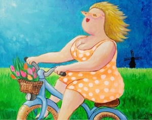 Neon Dikke Dame op de fiets