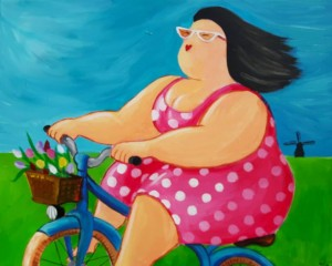 dikke-dame-op-fiets